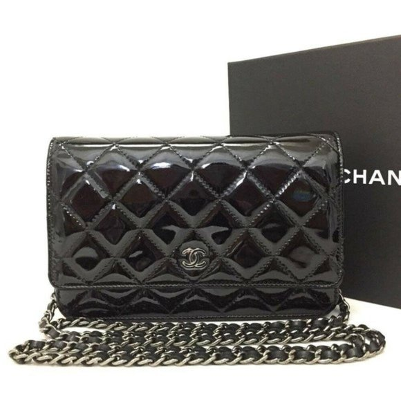 CHANEL Handbags - CHANEL Quilted Patent Wallet On Chain WOC BrandNew
